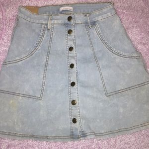 Faded navy blue jeans skirt.